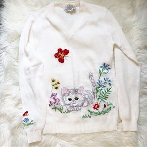 Vintage Embroidered Cat Sweater